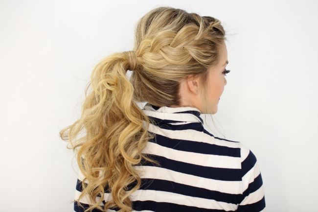 Side French Braid Ponytail For Double Braided Wrap Around Ponytail Hairstyles (View 2 of 25)
