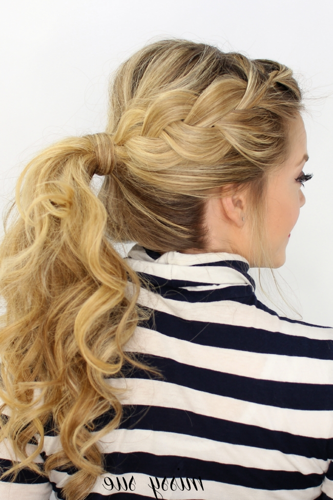 Side French Braid Ponytail In Brunette Ponytail Hairstyles With Braided Bangs (View 4 of 25)