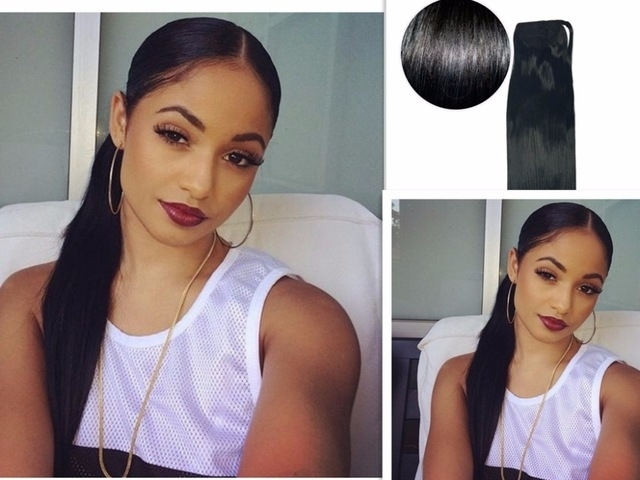 Side Part Ponytail 2017 Hot Jet Black Silky Straight Virgin Intended For Sleek Straightened Black Ponytail Hairstyles (View 8 of 25)