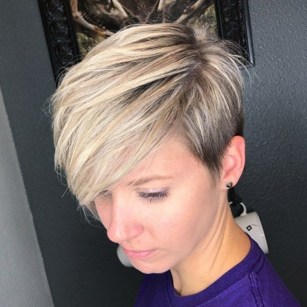 Featured Photo of Side Parted Blonde Balayage Pixie Hairstyles