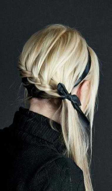 Side Plait With A Ribbon Entwined In It. Unique (View 10 of 25)