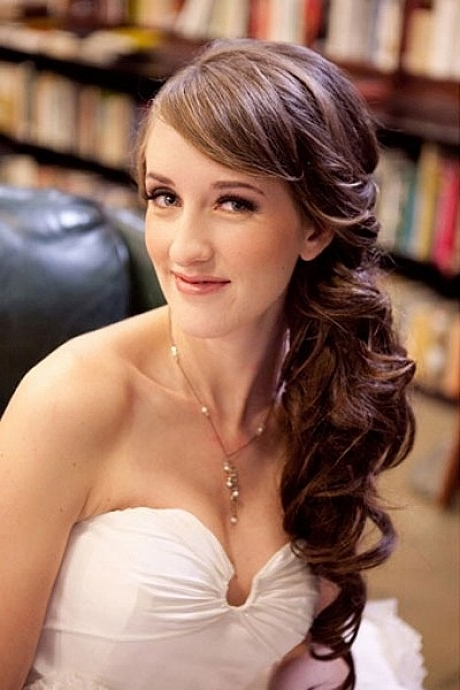 Side Ponytail Hairstyles For Long Wavy Hair With Side Bangs For Wedding Within Side Bangs And Pony Hairstyles For Wavy Hair (View 22 of 25)