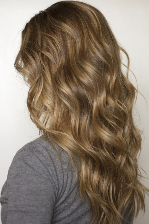 Side View Of Lowlighted Long Flowing Casual Waves – Hairstyles Weekly Intended For Casual And Classic Blonde Hairstyles (View 24 of 25)