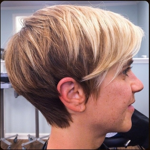 Side View Of Two Tone Pixie Cut For Most Recent Two Tone Pixie Hairstyles (View 23 of 25)