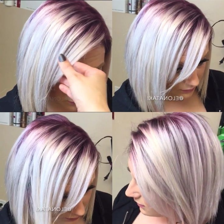 Silver Blonde Hair With Dark Purple Roots (View 5 of 25)