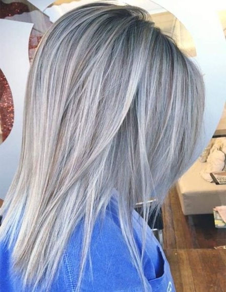 Silver Grey Hair Color Ideas For Straight Hairstyles 2018 In Silver Blonde Straight Hairstyles (View 8 of 25)