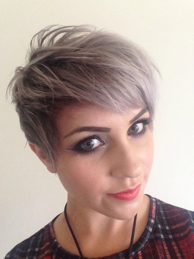 Silver Hair: 30 Gorgeous Silver Hairstyle Ideas Regarding Most Current Undercut Blonde Pixie Hairstyles With Dark Roots (View 18 of 25)