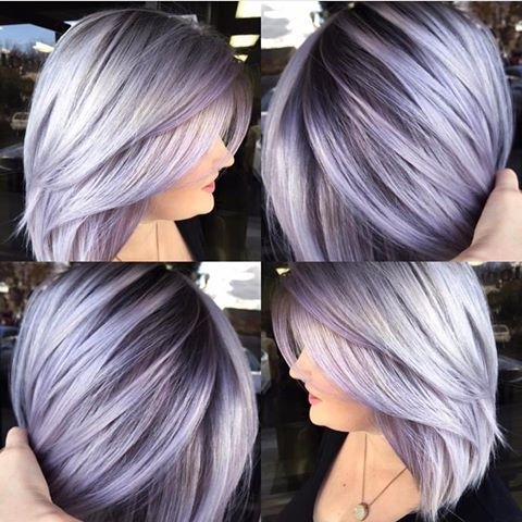 Silver Lavender Hair Color With Dark Base And Layered Bob Haircut In Blonde Bob Hairstyles With Lavender Tint (View 2 of 25)