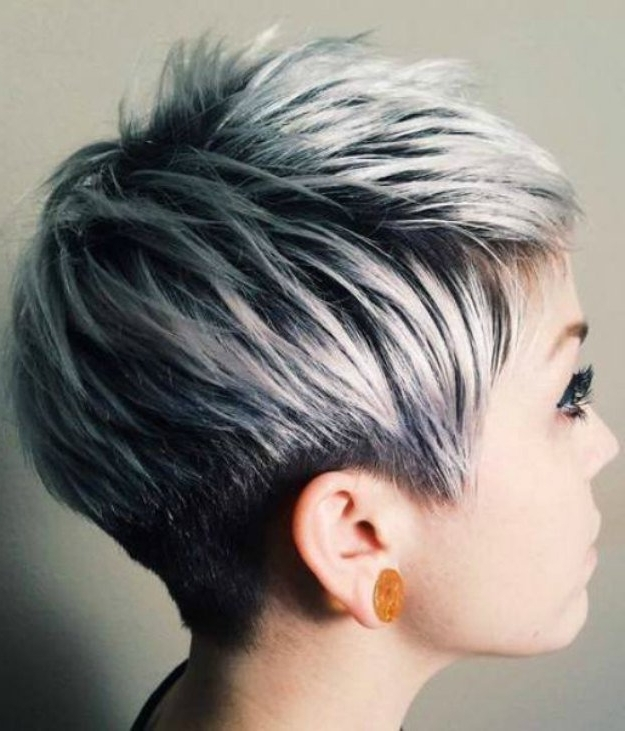 Silver Ombre Hair | Beautiful Hairstyles For Short Hair | Makeup In Most Current Silver And Brown Pixie Hairstyles (View 8 of 25)