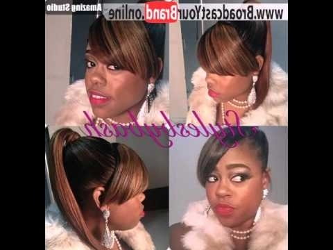 Sleek Pony With Thick Side Bangs – Youtube In Sleek Pony Hairstyles With Thick Side Bangs (View 21 of 25)