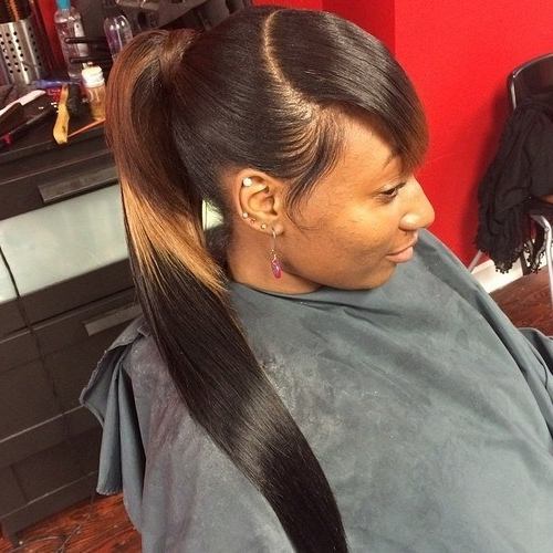 Sleek Ponytail With Bangs Intended For Long And Sleek Black Ponytail Hairstyles (View 19 of 25)