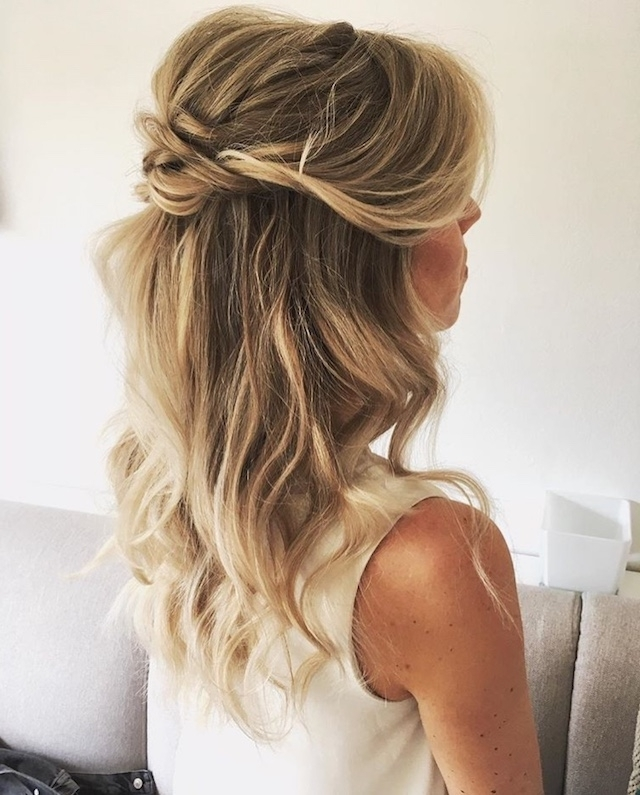 Soft Tendrils | Wedding Half Updo Styles We Are Coveting Right Now With Beachy Half Ponytail Hairstyles (View 25 of 25)