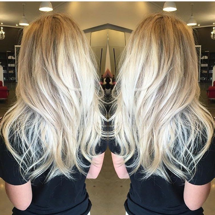 Sorta Straight/sorta Wavy Long Platinum Blonde Layered Hair | Long With Regard To Balayage Blonde Hairstyles With Layered Ends (View 24 of 25)