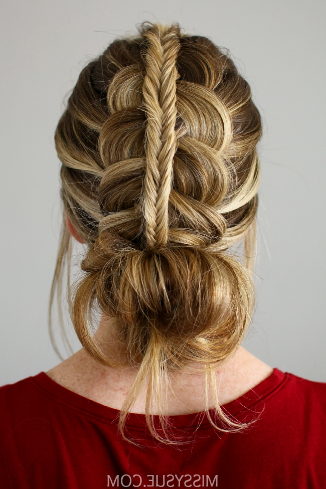 Stacked Fishtail + Dutch Braid Messy Bun Pertaining To Messy Pony Hairstyles With Lace Braid (View 12 of 25)