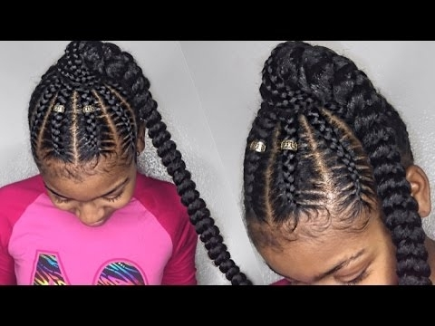 Stitch Braid Ponytail On Natural Hair – Youtube Pertaining To Braid Into Pony Hairstyles (View 23 of 25)