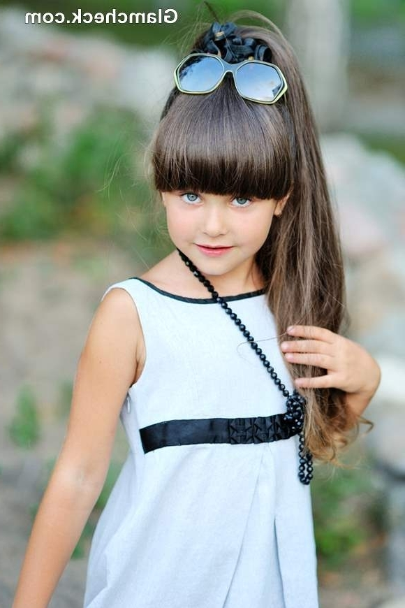 Styling Ideas For Little Girls With Long Hair And Bangs Regarding High Pony Hairstyles With Contrasting Bangs (View 13 of 25)