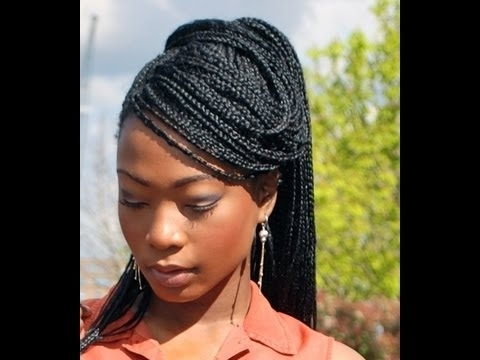 Styling 'solange' Box Braids: Side Swept High Ponytail Tutorial For Box Braids Pony Hairstyles (View 5 of 25)