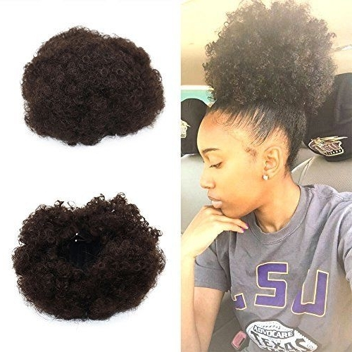 Synthetic Curly Wave Hair Clip In Ponytail Short Afro Kinky Wrap For Curly Blonde Afro Puff Ponytail Hairstyles (View 23 of 25)