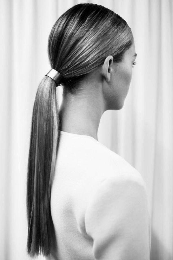 The Best Beauty Looks From New York: Spring 2015 | Locks Within Fancy Sleek And Polished Pony Hairstyles (View 25 of 25)