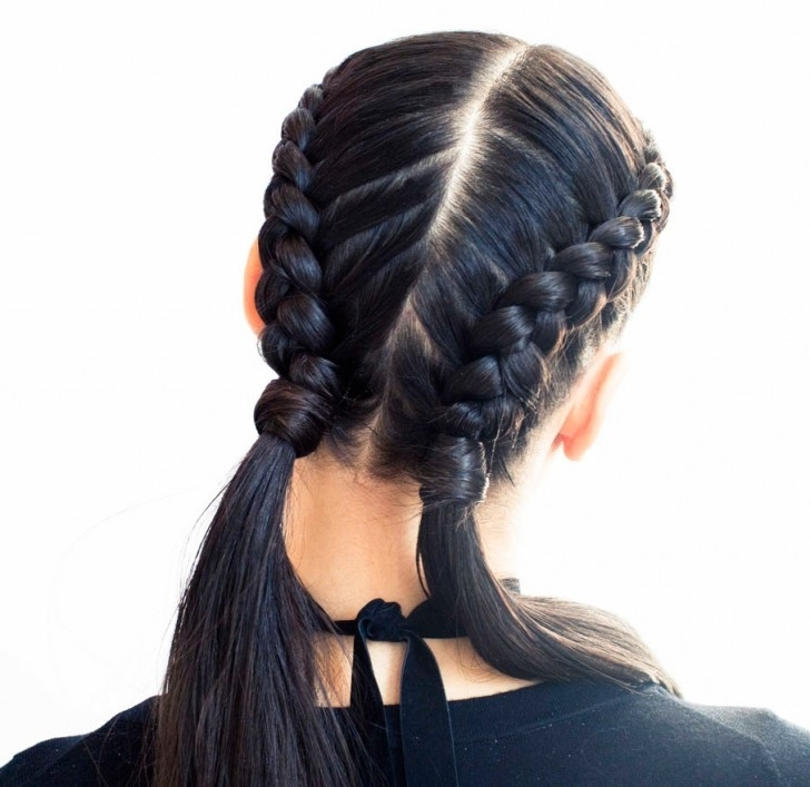 The Boxer Braid (Aka Double French Braid): A How To – Coveteur Regarding Reverse French Braid Ponytail Hairstyles (View 22 of 25)