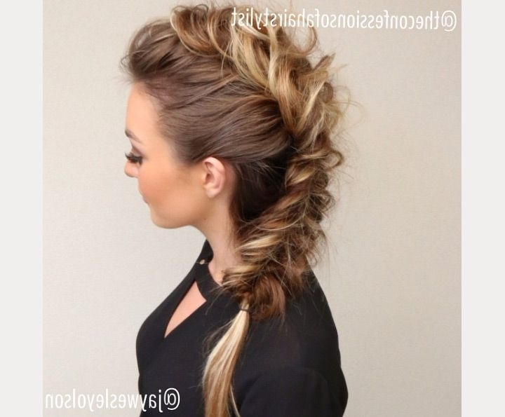 The Faux Hawk | Hairstyles | Pinterest | Braided Faux Hawk, Faux Pertaining To Two Tone High Ponytail Hairstyles With A Fauxhawk (View 24 of 25)