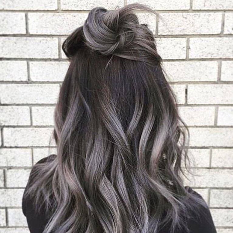 The Gray Hair Trend: 32 Instagram Worthy Gray Ombré Hairstyles | Allure Throughout Dark Brown Hair Hairstyles With Silver Blonde Highlights (View 25 of 25)