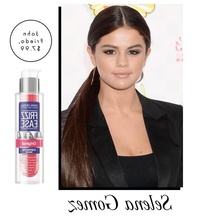 The Secret Behind Selena Gomez's Super Sleek Ponytail | Stylecaster Regarding Super Sleek Ponytail Hairstyles (View 25 of 25)
