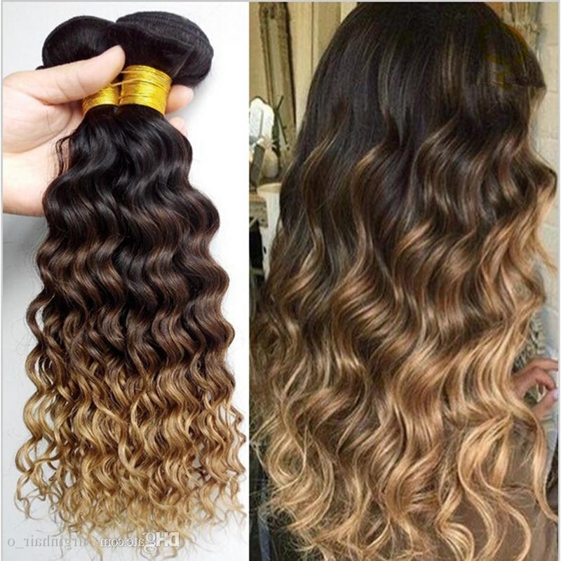 Three Tone 1B 4 27 Brown Blonde Ombre Deep Wave Wavy Human Hair Throughout Brown To Blonde Ombre Curls Hairstyles (View 25 of 25)