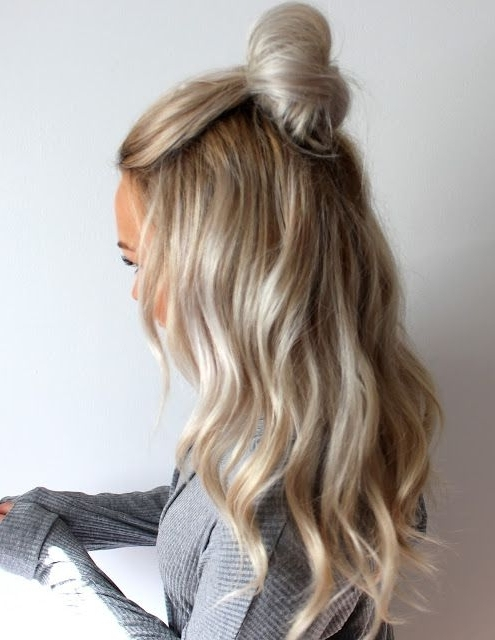 Tips For Getting Loose Beachy Waves | Icy Blonde Half Up Top Knot For Icy Waves And Angled Blonde Hairstyles (View 8 of 25)