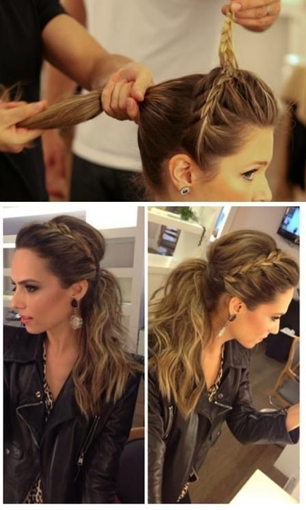 Top 10 Fashionable Ponytail Tutorials   Hair   Pinterest   Face Intended For Updo Pony Hairstyles With Side Braids (View 16 of 25)