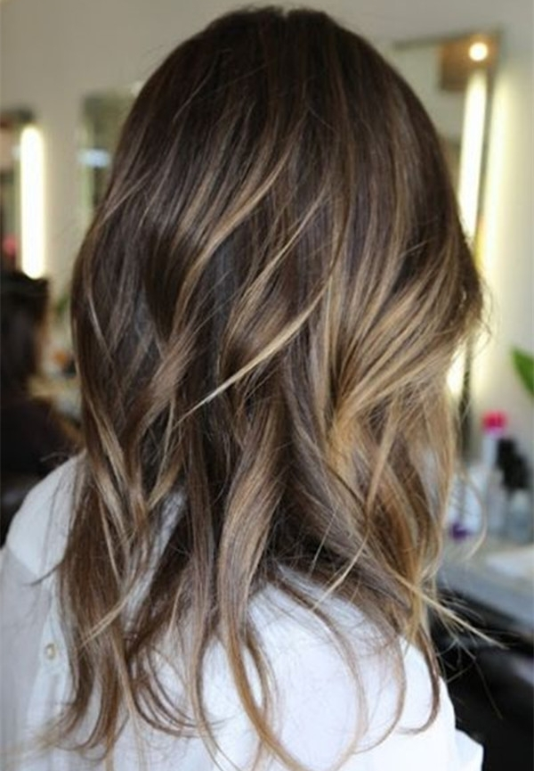 Top 20 Best Balayage Hairstyles For Natural Brown & Black Hair Color In Beachy Waves Hairstyles With Blonde Highlights (View 23 of 25)