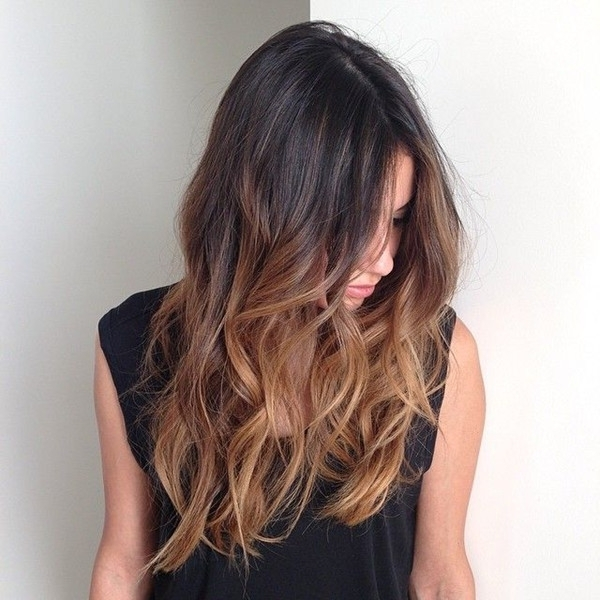 Top 20 Best Balayage Hairstyles For Natural Brown & Black Hair Color In Beachy Waves Hairstyles With Blonde Highlights (View 8 of 25)