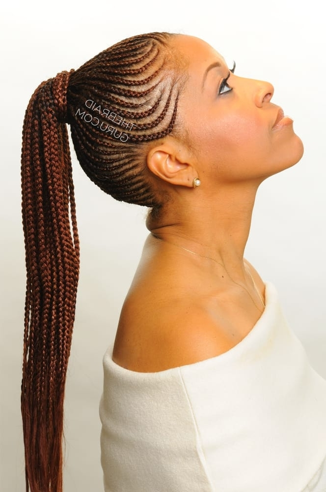 Top 20 Feed In Braids In Cornrow Styles – Hairstylecamp Inside Cornrows Hairstyles For Long Ponytail (View 24 of 25)