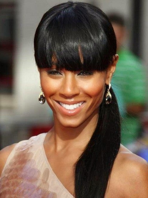 Top Hairstyles Models: Latest Black Hairstyles Ponytail 2015 Trends Pertaining To Low Black Ponytail Hairstyles With Bangs (View 21 of 25)