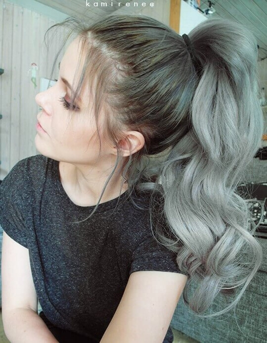 Top Ponytailof Nice Gray Ombre Hair Wonderful Curly Ponytail Idea Within Ombre Curly Ponytail Hairstyles (View 5 of 25)