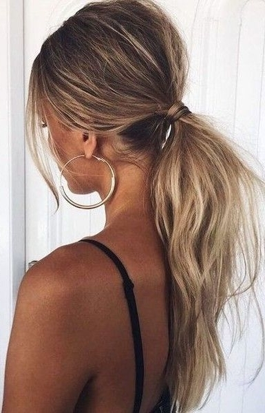 Tousled Low Ponytail | Hair Styles | Pinterest | Ponytail, Hair With Regard To Blonde Ponytail Hairstyles With Beach Waves (View 2 of 25)