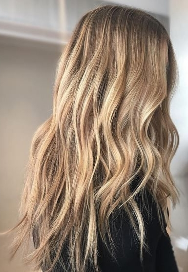 Trendy Hair Highlights : Highlights And Lowlights For Blonde Hair In Beachy Waves Hairstyles With Blonde Highlights (View 4 of 25)