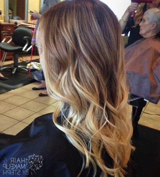 Trendy Long Brown To Blonde Ombre Hair With Waves Pictures, Photos Within Blonde Ombre Waves Hairstyles (View 13 of 25)