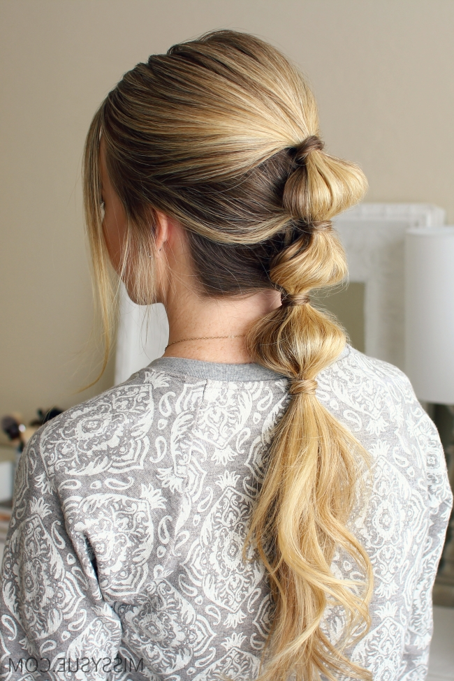 Triple Bubble Ponytail   Hair Tutorials   Pinterest   Bubble Intended For Sleek Bubble Ponytail Hairstyles (View 19 of 25)