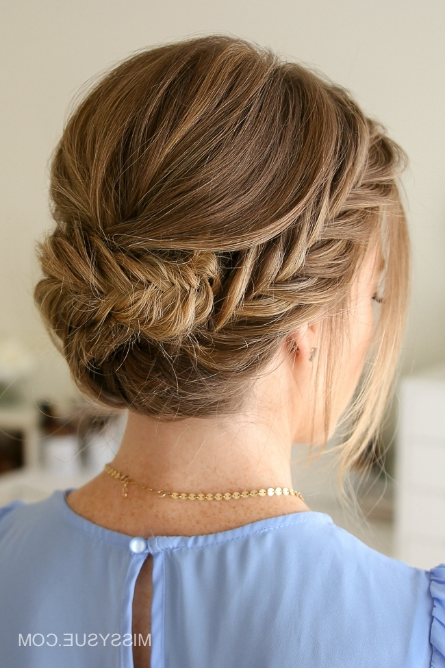 Tucked Fishtail Braid Updo | Missy Sue Pertaining To Wispy Fishtail Hairstyles (View 6 of 25)