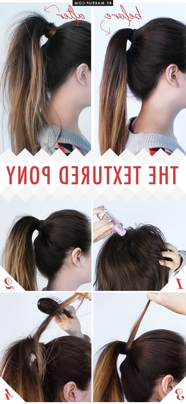 Tuesday Tutorial: The Textured Pony Makeup In Textured Ponytail Hairstyles (View 4 of 25)