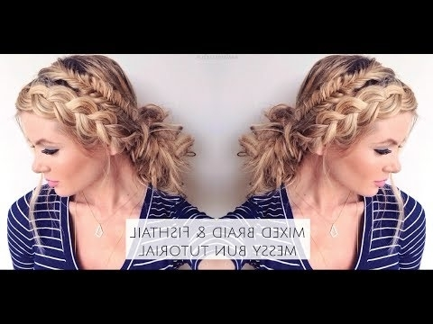 Tutorial | Mixed Fishtail And Dutch Braid Messy Bun – Youtube Regarding Messy Ponytail Hairstyles With Side Dutch Braid (View 11 of 25)