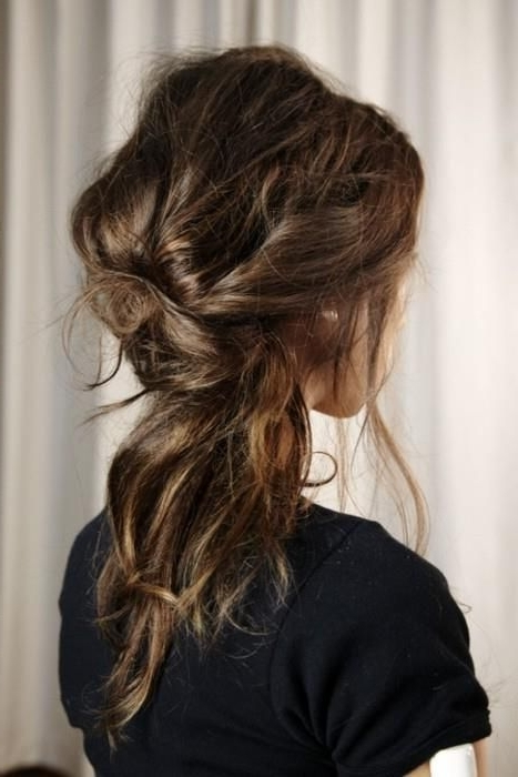 Twisted Messy Low Ponytail. (View 13 of 25)