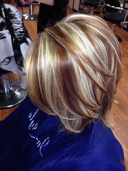 Two Toned Short Haircuts Featuring Blonde And Brown Hair Colors For Bi Color Blonde With Bangs (View 9 of 25)