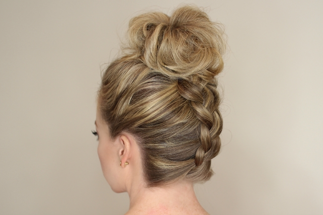 Upside Down Braid To Bun Throughout Messy Ponytail Hairstyles With A Dutch Braid (View 13 of 25)
