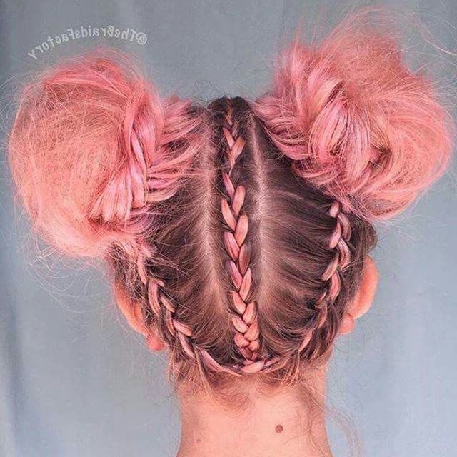 Upward Braids And Large Space Buns For Pale Pink Hair Color Inspo In Braided Millennial Pink Pony Hairstyles (View 3 of 25)