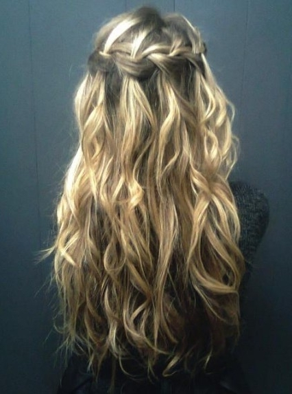 Waterfall Braid For Curly Hair – Long Curly Hairstyle With Braid Regarding Braids With Curls Hairstyles (View 14 of 25)
