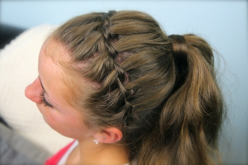 Waterfall Braid Headband Combo | Braided Hairstyles | Cute Girls Pertaining To Braid Into Pony Hairstyles (View 16 of 25)