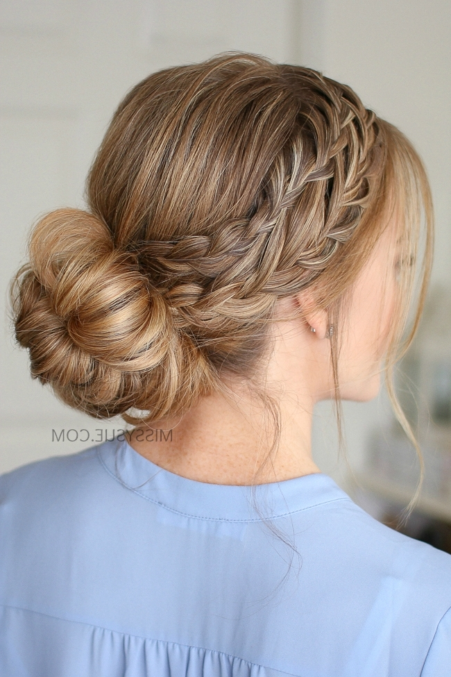 Waterfall French Braid Low Bun | Missy Sue Throughout Messy Pony Hairstyles With Lace Braid (View 24 of 25)