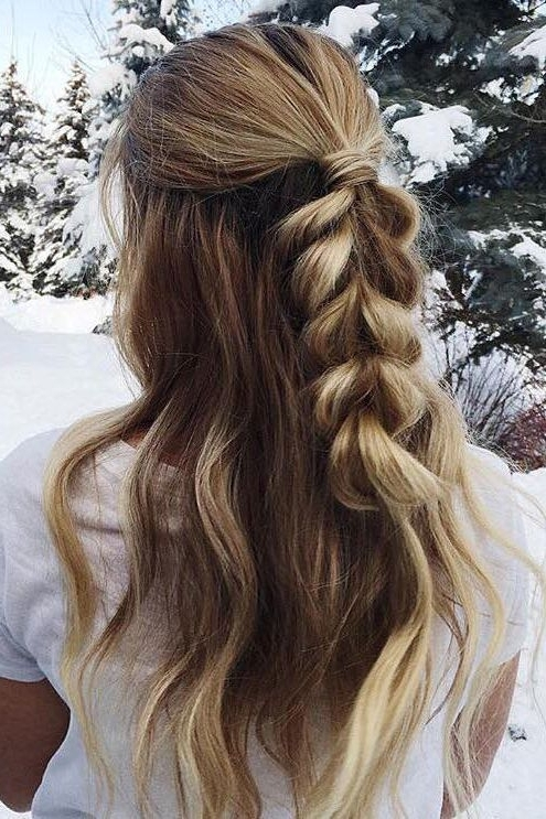 Wavy Hair With A Half Up Fishtail Braid (View 13 of 25)